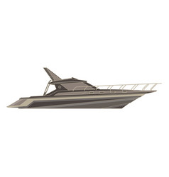yacht flat icon isolated boat side view cruise vector image vector image