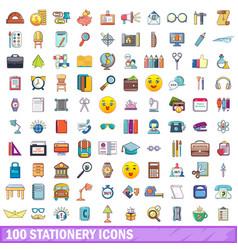 100 stationery icons set cartoon style vector image