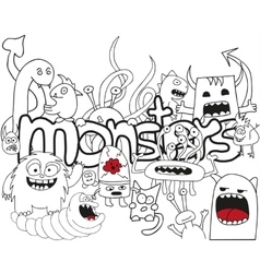 Abstract pattern with doodle monsters vector image
