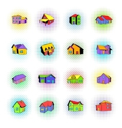 House icons set comics style vector image