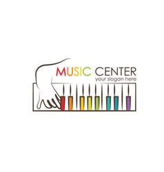 logo for preschool music center kid playing vector image vector image