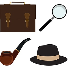 Pipe fedora hat magnifier briefcase vector image vector image