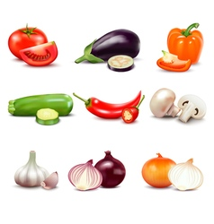 Raw vegetables isolated icons vector