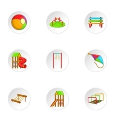 Attractions for children icons set cartoon style vector image vector image
