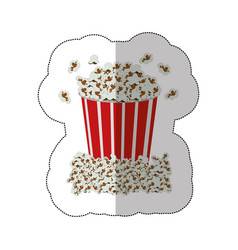 color background sticker of popcorn container vector image