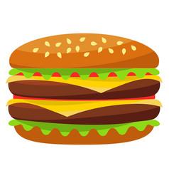colorful burger hamburger cheeseburger fast food vector image