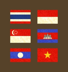 Flags of Thailand Indonesia Singapore Cambodia vector image