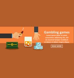 gambling games banner horizontal concept vector image