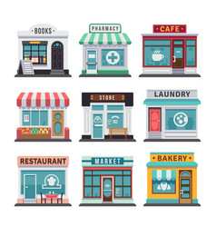 Modern fast food restaurant and shop buildings vector