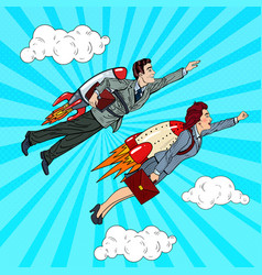pop art business people flying on rockets vector image