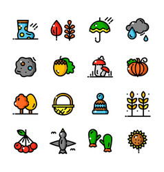 thin line autumn icons set vector image vector image