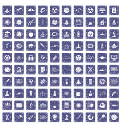 100 space icons set grunge sapphire vector image