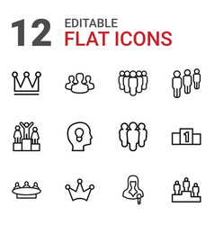12 leader icons vector image