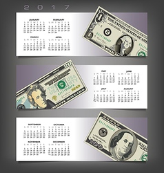 2017 calendar with three money banners vector image