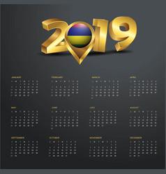 2019 calendar template mauritius country map vector image