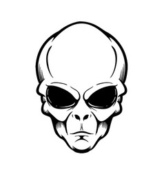 alien head isolated on white design element for vector image