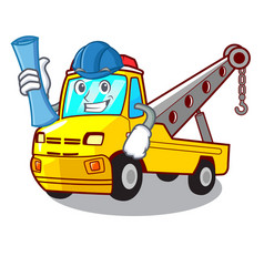 Architect truck tow the vehicle with mascot vector