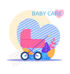 bacare lettering flat banner with stroller vector image