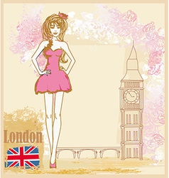 Beautiful woman in London card vector image