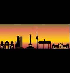 Berlin night city skyline vector
