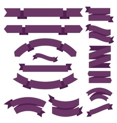 Big purple ribbons set vector