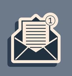 Black received message concept envelope icon vector