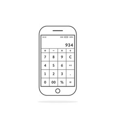 black thin line phone with calculator app vector image