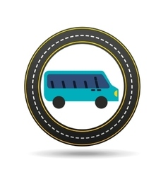 blue bus circle road way design vector image