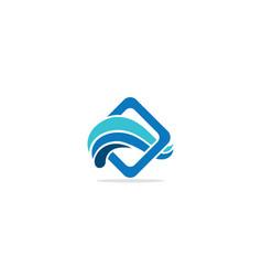 Blue water wave logo vector