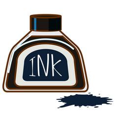 Bottle black ink on white background vector