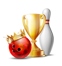 bowling game award bowling ball with golden crown vector image