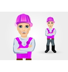 Builder with crossed arms vector