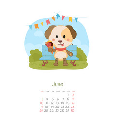 Calendar 2018 months june with dog vector