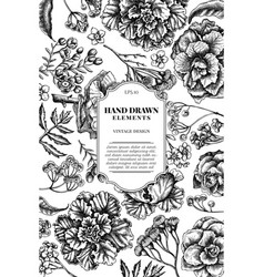 Card design with black and white wax flower vector