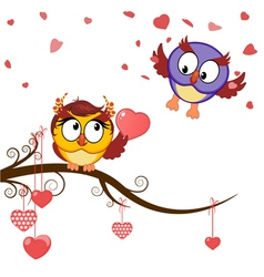 Card funny owls declaration of love vector