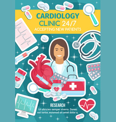 Cardiologist doctor cardiologykit and heart vector