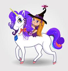 Cartoon baby witch girl riding beautiful magical vector