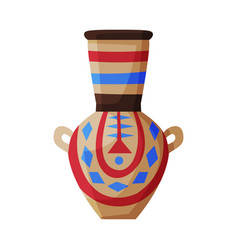 clay vase ancient egyptian crockery pottery flat vector image