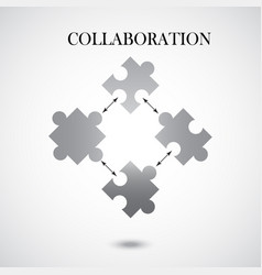 Collaboration concept with four pieces of puzzle vector