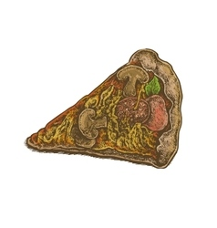 Colorful vintage style hand drawn pizza slice vector image