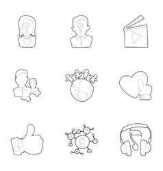 Communication icons set outline style vector