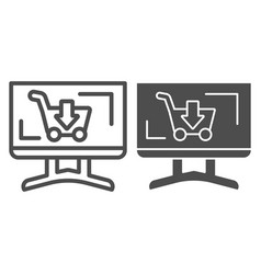 Computer display with cart line and glyph icon vector