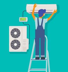 Conditioner repair repairman character installing vector