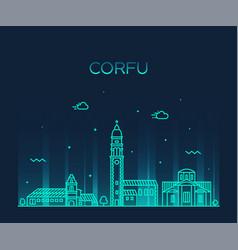 corfu skyline greece big city linear style vector image