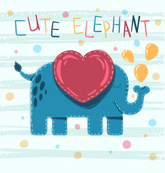 cute baby elephant - cartoon vector image