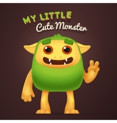 Cute Cartoon Green alien character with My little vector image