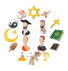 Different religions cartoon icons set vector
