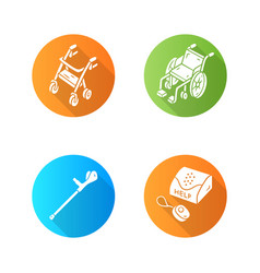 Disabled devices flat design long shadow glyph vector