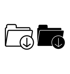 download folder line and glyph icon storage vector image