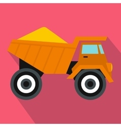 Dump truck with sand icon flat style vector image